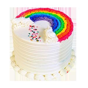 蛋糕/爱你的颜色:鲜奶制作,渐变彩虹色蛋糕胚 祝 愿:斯人若彩虹,遇