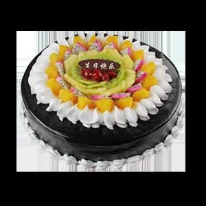 蛋糕/甜蜜果盘:鲜奶鸡蛋胚+新鲜时令水果+巧克力 祝 愿:温馨的蜡