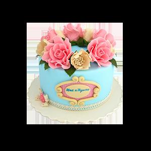 蛋糕/【翻糖蛋糕】共闻花香:鲜奶鸡蛋胚+新鲜翻糖别致造型 祝 愿:花开时节再见