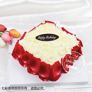 蛋糕/花漾:鲜奶鸡蛋胚+玫瑰花瓣围边 祝 愿:天涯海角,总有一