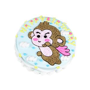 蛋糕/猴年大吉: 精选新鲜奶油,原味戚风胚,制成小猴子造型,寓意