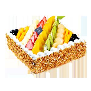 蛋糕/七彩果园:方形水果蛋糕,新鲜奶油、果肉铺面,水果夹层蛋糕胚。