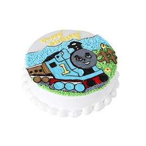 蛋糕/快乐的托马斯: 圆形奶油蛋糕,选用新鲜奶油、原味戚风蛋糕胚