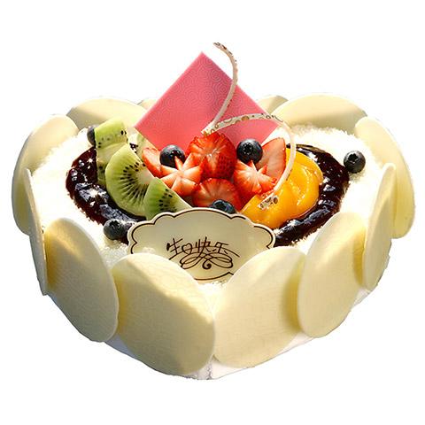蛋糕/今生与你相伴: 心形鲜奶水果蛋糕,时令水果装饰,巧克力片围边装