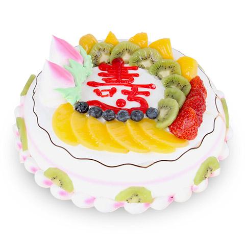 蛋糕/健康长寿: 圆形鲜奶水果蛋糕,时令水果装饰,蛋糕上写一个大