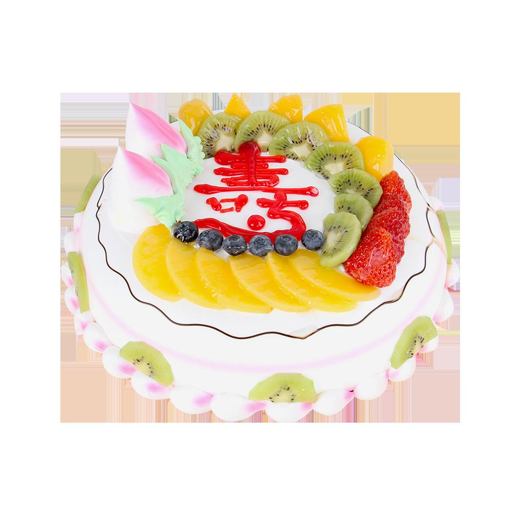 蛋糕/健康长寿:圆形鲜奶水果蛋糕,时令水果装饰,蛋糕上写一个大红色的