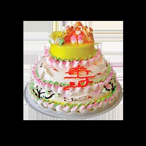 蛋糕/松乔之寿: 三层鲜奶蛋糕,周围小寿桃围边,正面一个大寿字,