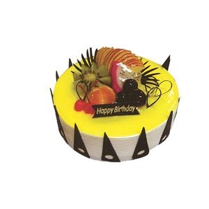 蛋糕/罗马假日:圆形鲜奶水果蛋糕,时令水果,黄色果浆,巧克力插片围圈