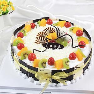 蛋糕/最美的偶遇:鲜奶鸡蛋胚+新鲜时令水果+巧克力贴片 祝 愿:生日