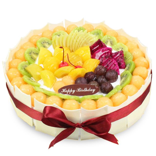 蛋糕/想念: 圆形水果蛋糕,水果铺面,白色巧克力围边  [