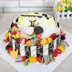 蛋糕/雙子座專屬蛋糕:巧克力貼片+時令水果+新鮮奶油 祝 愿:愿你一如既