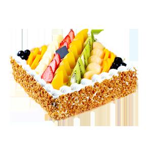 蛋糕/七彩果园:原材料:方形水果蛋糕,新鲜奶油、果肉铺面,水果夹层蛋糕胚。