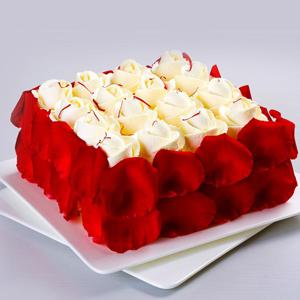 蛋糕/美味情缘:新鲜优质淡奶油、新鲜玫瑰花瓣围边 祝 愿: 花开的
