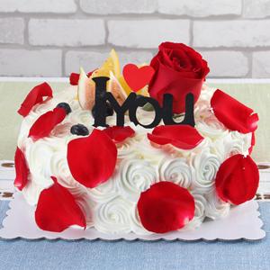 蛋糕/玫瑰色戀人:新鮮時令水果搭配玫瑰花裝飾,甜蜜而又浪漫 祝 愿: