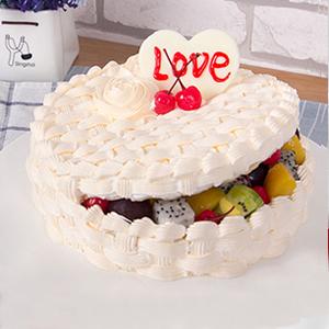 蛋糕/爱情果篮:新鲜水果、优质奶油、鸡蛋牛奶蛋糕胚 祝 愿:爱就是