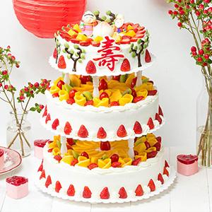 蛋糕/添褔纳寿:原材料: 蛋糕说:天增岁月,人增寿,祝老寿星吉祥如意、富贵