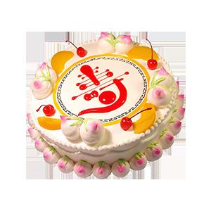 蛋糕/福同海阔:圆形鲜奶蛋糕,鲜奶寿桃围边,时令水果装饰,红色果酱写
