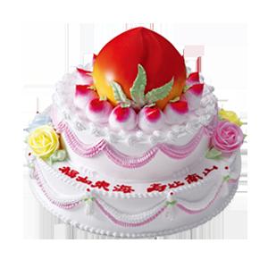蛋糕/寿山福海:三层鲜奶蛋糕,上层做成蟠桃。 祝 愿:增福增寿增富