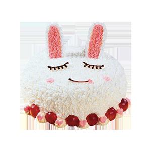 蛋糕/咪咪兔:鲜奶蛋糕+水果夹层 祝 愿:我的小可爱,蹦蹦跳跳,
