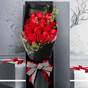 鲜花/永恒的爱恋:19枝红玫瑰礼盒 花 语:护你周全,免你惊慌,永远