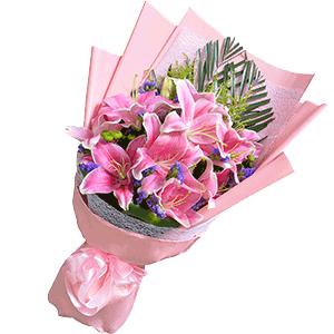 鲜花/粉色的秘密:11枝粉色百合+高级配草 花 语:粉色的秘密