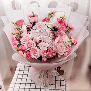鲜花/我的小公主:19枝粉玫瑰 粉色康乃馨 粉色绣球 粉色雏菊混搭