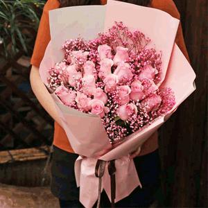 鲜花/甜蜜情人:19枝粉玫瑰 满天星 花 语:粉色少女心 甜甜蜜蜜