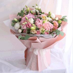 鲜花/温存:10枝粉玫瑰9枝白玫瑰 配材:绣球 桔梗 花 语:
