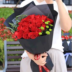 鲜花/热情似火:19枝精品红玫瑰 花 语:烈火如歌 热情似火