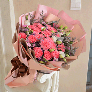 鲜花/甜美母爱:19枝粉色康乃馨+白玫瑰+高级配草 花 语:母爱是
