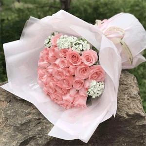 鲜花/幸福的感觉:21枝精品粉玫瑰 花 语:从黎明到黄昏,阳光充足,