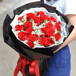 鮮花/一花一葉情:21枝精品紅玫瑰+高級配草 花 語:一花一葉情,一