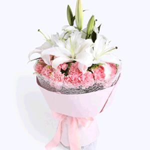 鲜花/感谢陪伴:21枝粉色康乃馨+白色香水百合 花 语:岁月在不经