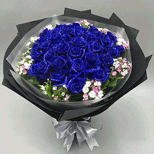 鮮花/小夜曲:21枝藍色妖姬+高級配草 花 語:那些深藏不露的愛
