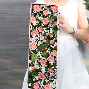 鲜花/深情不移:21枝粉玫瑰+高级配花 花 语:我想要的很简单,时