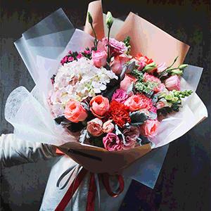 鲜花/温柔绽放:29枝粉玫瑰+桔梗+绣球+高级配花 花 语:我要让