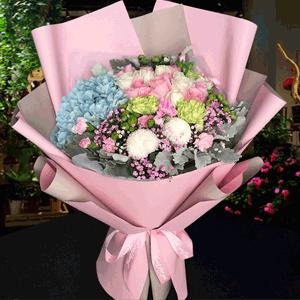 鮮花/粉嫩少女心:29枝混搭玫瑰+乒乓菊+繡球+康乃馨+銀葉菊+粉多丁