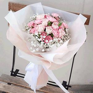 鲜花/极光:33枝粉玫瑰+高级配花 花 语:海上月是天上月 眼