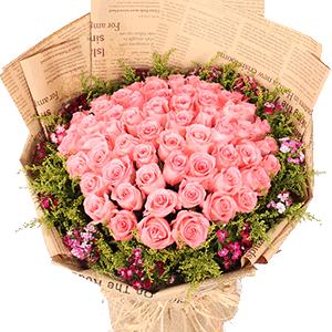鲜花/情窦初开:66枝粉玫瑰 花 语:与你相遇,如入梦中,从此不愿