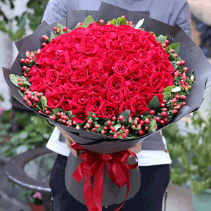 鲜花/至此终年:99枝红玫瑰+红豆 花 语:仅此一人 至此终年