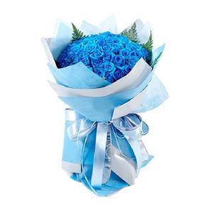 鲜花/爱在繁花盛开时:99枝蓝色妖姬 包 装:蓝色、浅蓝色皱纹纸圆形精美