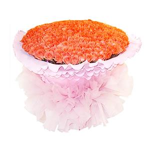 鮮花/久久愛你:999枝艷粉色玫瑰 包 裝:粉色卷邊紙圓形精美包裝