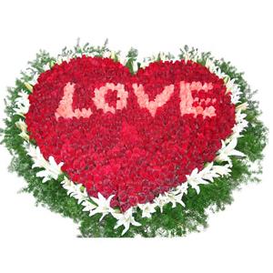 鲜花/爱如潮水:999枝红玫瑰(中间粉玫瑰包含在内),40朵白百合