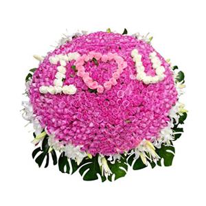 鲜花/迷情天使:紫色、白色、粉色玫瑰共999枝,40朵白百合 包