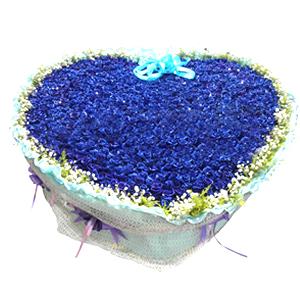 鲜花/我们结婚吧:999支蓝色妖姬。 配材:满天星、黄英围边 花 语
